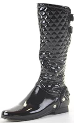 Womens Flat Biker Black Patent Ladies Wide Calf Leg Knee High Boots Size 3 4 5 6 7 8 - shoeFashionista Branded
