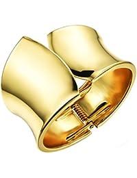 OPK joyas 18K chapado en oro superficie lisa abierto de ancho brazalete para las mujeres de estilo americano, 7inch