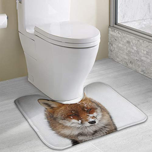 Dimension Art Fox Nature Storm Snow Winter Contour Bath Rugs Non Slip Soft and Absorbent Memory Foam U-Shaped Bathroom Bath Mats Rug Carpet - Snow Tail Fox