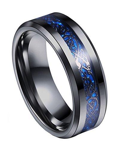Tanyoyo 8mm blu nero drago modello bordi smussati celtic rings jewelry wedding band for men 7–14, acciaio inossidabile, 22, cod. h20160429-01