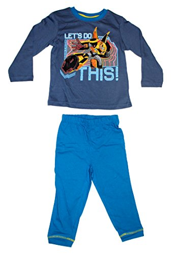 Schlafanzug Pyjama lang (98 (3 Jahre), Blau) (Transformers Bumblebee Schlafanzug)