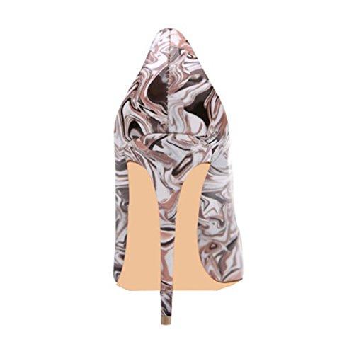 ENMAYER Femmes Matériel en PU Talons hauts Pompes à pied rond Chaussures de fête occasionnelles pour femmes Stiletto Shallow Shoes Violet