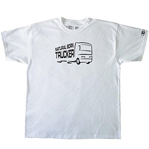 Nicram Designs Herren Rundhalsausschnitt T-Shirt - WHITE + Black Logo