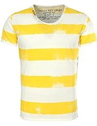 Key Largo Herren T-Shirt AIRLINE Vintage Look Gestreift mit Ziernähten V- Ausschnitt e2ec40c90e