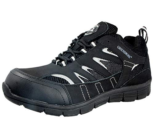 Groundwork Herren Ultraleicht-Leichtathletik Laufschuhe mit Stahlkappe für mehr Sicherheit, Schnürschuh