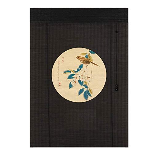 ACZZ Persianas enrollables estampadas estilo japonés - Puerta/mirador/Balcón/Sombrilla exterior de bambú con ganchos , 70Cm / 90Cm / 110Cm / 130Cm de ancho,90 × 70cm