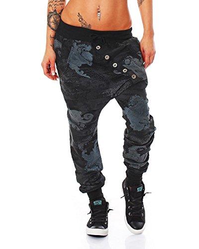 Zarmexx Trendy Damen Hose Boyfriendhose Jogginghose Haremshose Aladinhose Freizeithose Baggy Boyfriend Sport Loose Fit (schwarz, One Size)