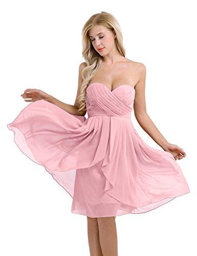 Freebily Damen Brautjungfernkleid Festliches Kleid Chiffon Kleid Abendkleid Elegent für Hochzeit...