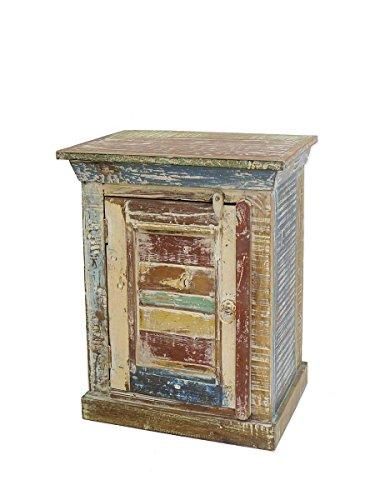 Antike Fundgrube Nachttisch Nachtschrank Nachtkonsole Vintage Stil aus Sheesham Holz (4955)