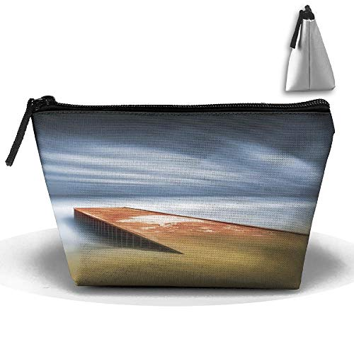 Portable Trapezoidal Storage Pouch Abstract Flowers Oil Painting Cosmetic Bags Travel Toiletry Zipper Pencil Holders -