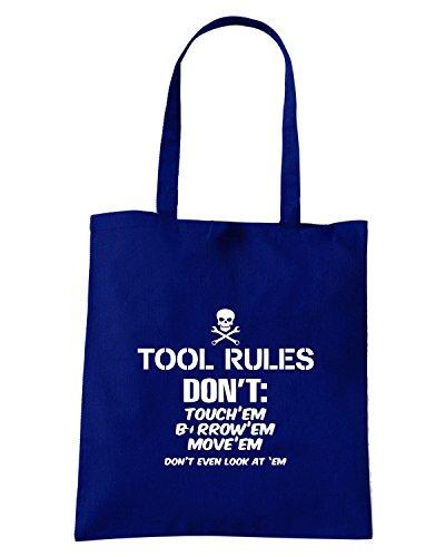 T-Shirtshock - Borsa Shopping TB0439 Tool Rules Funny Car Mechanic Blu Navy
