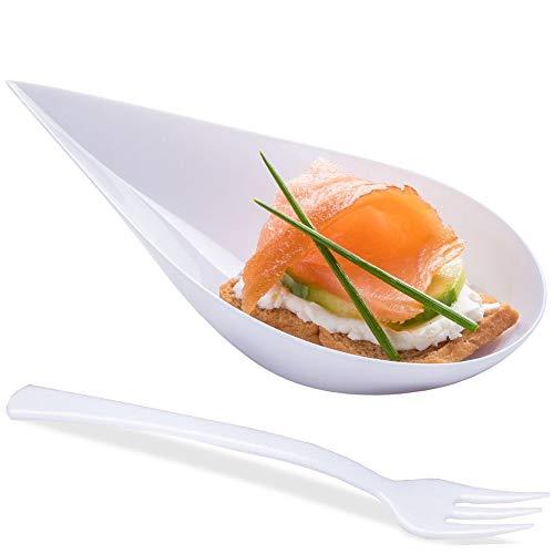 DLux Mini-Vorspeiseteller mit Gabeln, weiße Kunststofflöffel, Dessert- und Vorspeisenschalen, Servierteller, Einweg, asiatische Löffel, kleine Gastronomie Dessert Verkostungstassen