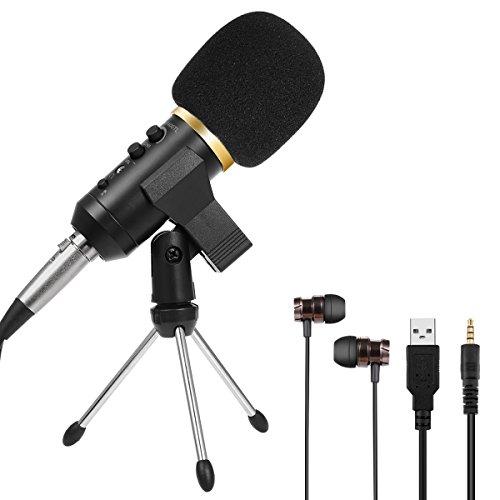 USB Mikrofon jmfone Handy PC Mikrofon mit Stativ und Kopfhörer Plug & Play Niere Kondensator USB Mikrofon für Podcasting, Recording, skpe, Youtube, Gesang, Gaming, Computer