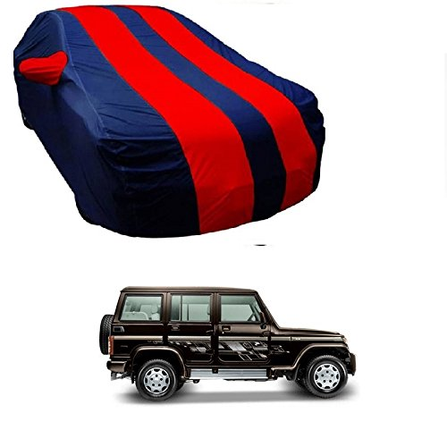MotRoX Car Body Cover For Mahindra Bolero with Side Mirror Pocket (Red & Blue)  available at amazon for Rs.879