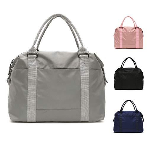 FEDUAN original Shopping-Bag Reisetasche Sporttasche faltbar wasserfest groß leicht Handgepäck Weekender Handtasche Einkaufstasche Freizeit-Tasche Damen Einkaufen anthrazit hell-grau