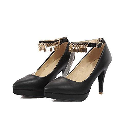 AgooLar Femme Mosaïque Pu Cuir à Talon Haut Pointu Boucle Chaussures Légeres Noir
