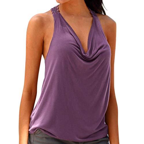 LEEDY Neu Frauen Sommer Spitze Ärmellos Weste Lässige Tank-Tops Damen Sport Oberteil Yoga Tops Bluse Hemden T-Shirt Sleeveless Weste Reizvolles Jumper Pullover
