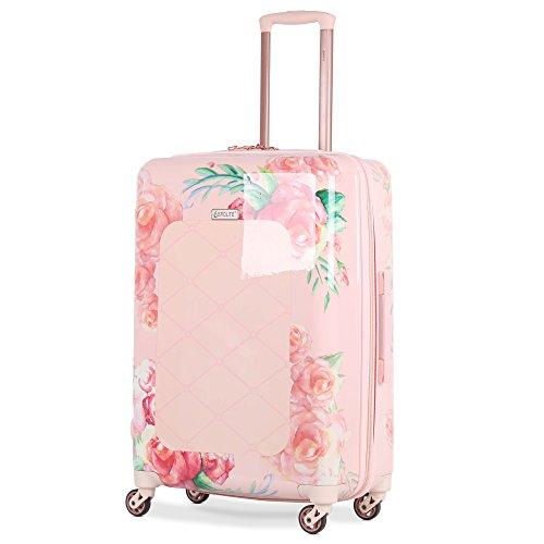 Aerolite Leichtgewicht Polykarbonat Hartschale 4 Rollen Gepäckset Reisegepäck Trolley Koffer, 3 teiliges Set, 55cm Handgepäck + 69cm + 79cm, Rosa Blumendesign - 3
