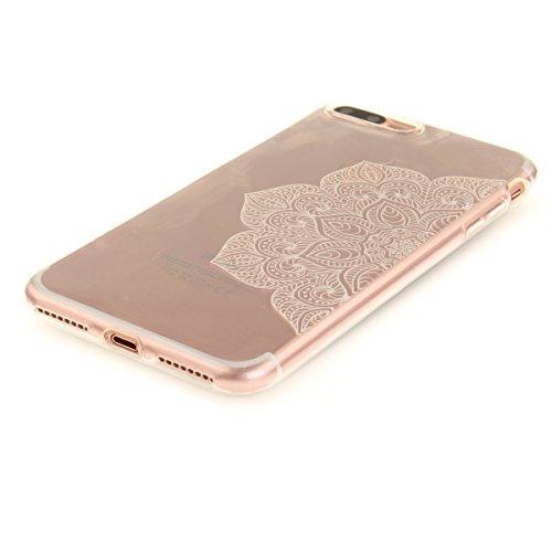 Felfy iphone 7 Plus Silikone Case,iphone 7 Plus Hülle,iphone 7 Plus Schutzhülle Ultra Dünnen Weiche Gel TPU Silikone Transparent Schutzhülle Bumper Case Handy Tasche Hülle für Apple iPhone 7 Plus 5.5  Die Hälfte weiß