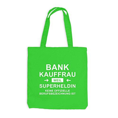 Jutebeutel - Bankkauffrau Superheldin - Hero Beruf Hellgrün