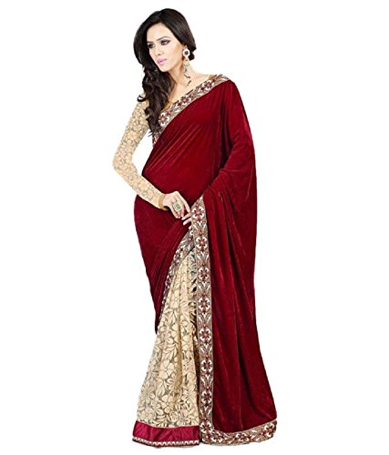 Women's Maroon Velvet and Net Brasso Embroidery Saree with Unstitch Blouse Piece...