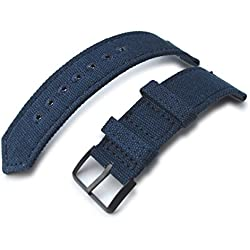 22mm MiLTAT WW2 Navy Blue Washed Canvas Watch Band, lockstitch pin-hole, PVD