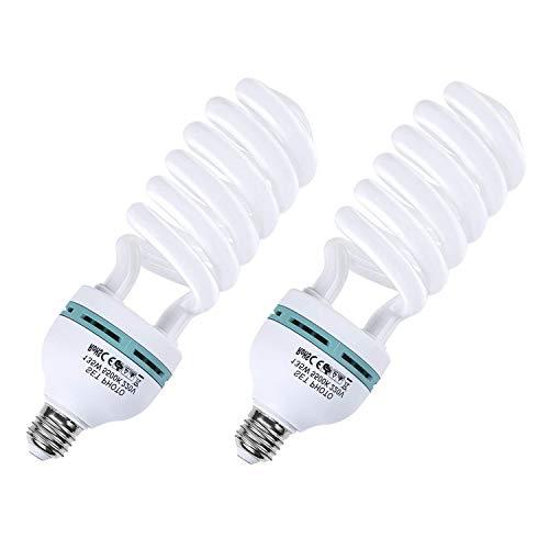 Amzdeal Fotolampe 2x135W Energiesparlampe E27 Birne für Fotostudio Studiobeleuchtung Fotoleiste Weniger Wärme