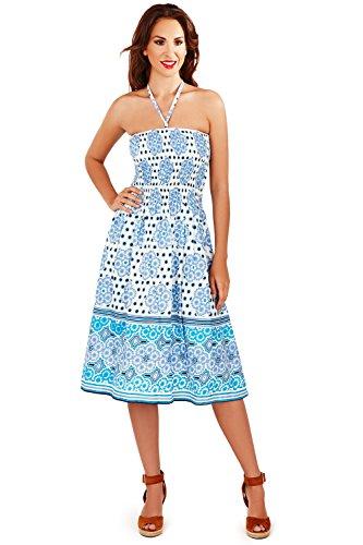 Dora Mädchen Kleider Für (Lora Dora Damen Neckholder Kleid Large Gr. 38/40, Blue Mosaic Daisy)
