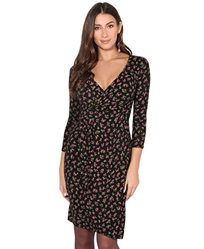 KRISP Vestido Mujer Ajustado Fiesta Invitada Boda Outlet Corto Colores Tallas Grandes Noche Elegante Cóctel, (Negro/Rosa (4273), 38 EU (10 UK)), 4273-FRL-10