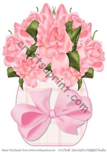 Color rosa rosas jarrón grande Sally Booth