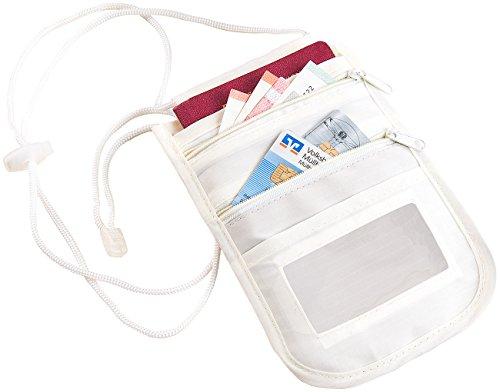 Xcase Ausweishülle: Unisex-Brustbeutel mit RFID-Schutz, Reise-Organizer, 4 Fächern, beige (Premium-Brustbeutel)