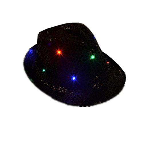Namsan Fedora-Partyhut mit 9 blinkenden und farbenfrohen LEDs, mit Pailletten besetzt, schwarz Mit Fedora