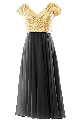 MACloth - Robe - Trapèze - Manches Courtes - Femme Or - Light Gold-Black