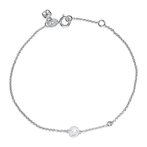 Sydney Evan Shy en argent Sterling plaqué Bracelet Smirk Emoji et diamant 17.145 cm de longueur blanc