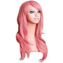 "28"" 70CM Peluca de pelo largo rizado para mujer cosplay fiesta peluca sintética de moda calor resistente con casquillo (rosa)"