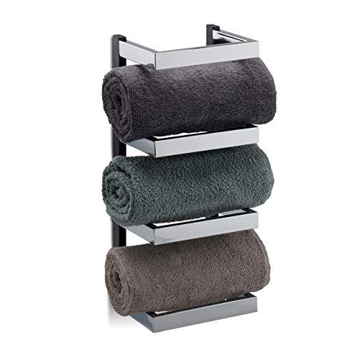 Relaxdays Handtuchregal Design, Fächer für Handtücher, Chrom, Handtuchablage hängend, HBT: 44x18x16 cm, Silber/schwarz (16 Handtuch)