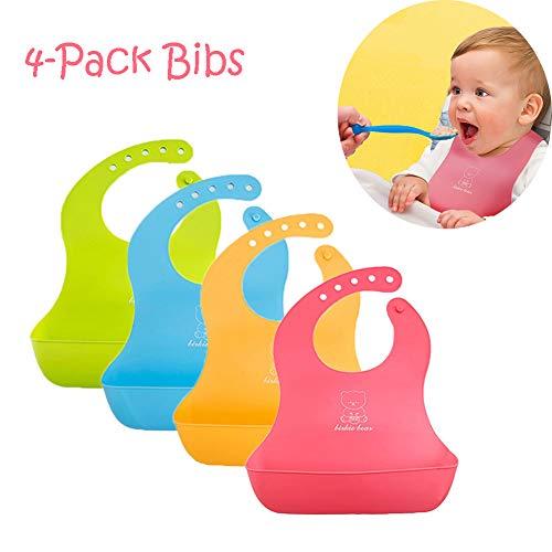 (4-Pack) Inchant wasserdichte bunte Baby-Silikon-Lätzchen Set - Wipes leicht zu reinigen Kleinkinder Fütterung Lätzchen, BPA frei