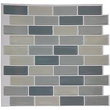 AIICIOO Fácil de azulejos anti moho pared adhesivo azulejos y pegar - Adhesivos para azulejos, color blanco y gris 24 cm x 24 cm, 10 unidades) Product ID: 713893173866
