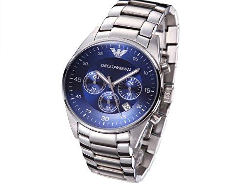 Men's Emporio Armani AR5860 Quartz Blue Dial Stainless Steel Watch