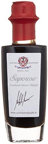 Vinaigre Balsamique Saporoso 100ml, Caramba. De Modène. Malpighi. Pour contrôler précisément la quantité que vous voulez ajouter votre salade et découvrir la saveur aigre-douce et un arôme complexe vieilli pendant six ans en fûts de chêne. C'est un produit naturel, sans colorants et les édulcorants ajoutés. Un vinaigre balsamique de la plus haute qualité.