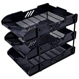 Skyfun Plastic Foldable Office Desk Accessories Files Papers Divider Rack Storage Tray Stand (3 Layer Plastic Black)