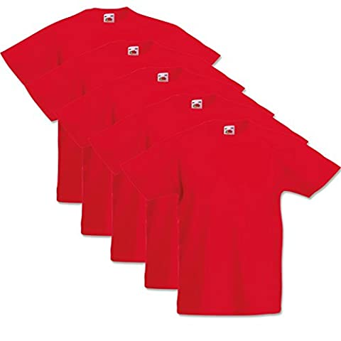5 Fruit of the loom Kinder T-Shirts Valueweight 104 116 128 140 152 Diverse Farbsets auswählbar 100% Baumwolle (140, Rot)