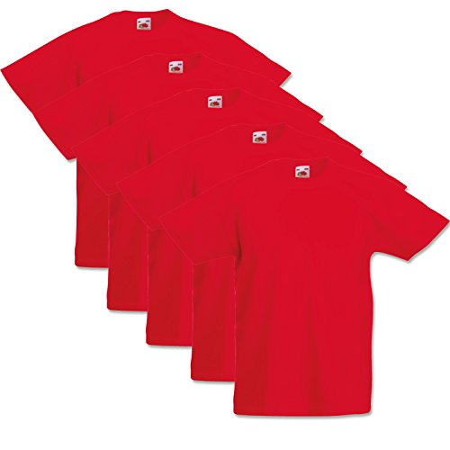 5 Fruit of the loom Kinder T-Shirts Valueweight 104 116 128 140 152 Diverse Farbsets auswählbar 100{621fa32659e17b121eb810c6a2a3f19ef8a64a761d6861cc1ff5ecdce6c00887} Baumwolle (116, Rot)