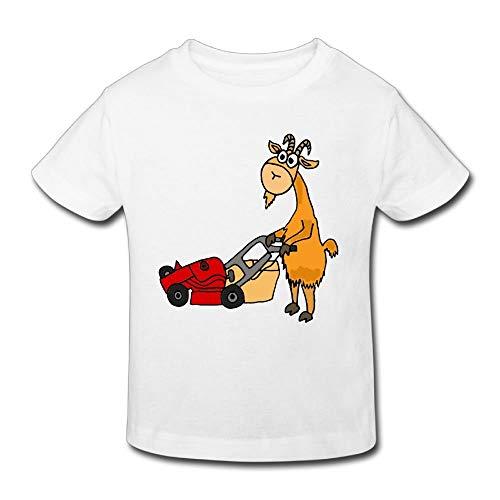 Die lustige Ziege, die Rasenmäher drückt, scherzt kurzes Hülsen-T-Shirt M