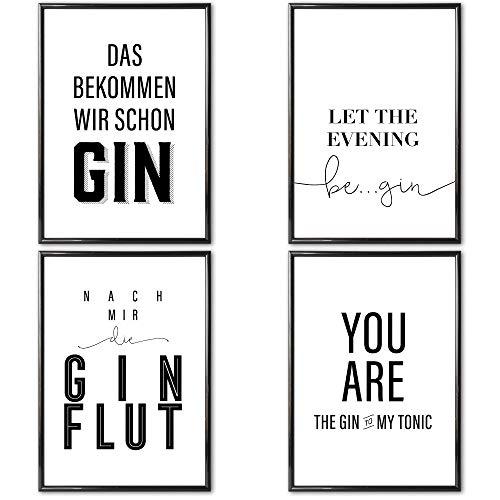Heimlich® Premium Poster (4 Stück in DIN A4) | Große Auswahl an Motiven im Shop | auch mit Rahmen » Gin Tonic «
