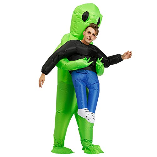 Metyere Green Alien Carrying Human Costume Sports Session Running Props Inflatable Funny Blow Up Suit Cosplay Halloween Clothes Prop Christmas Prop Clothes for Party