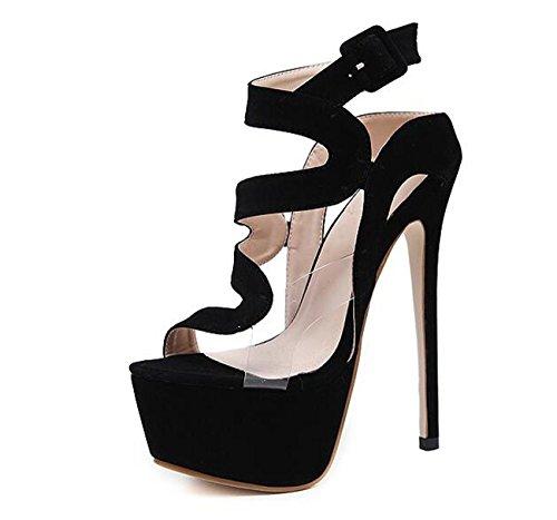 Beauqueen Piattaforma OL Pompini Peep-toe Cintura Fibbie Stiletto Alta tacco Donne Fashion Concert Shoes 34-40 Black