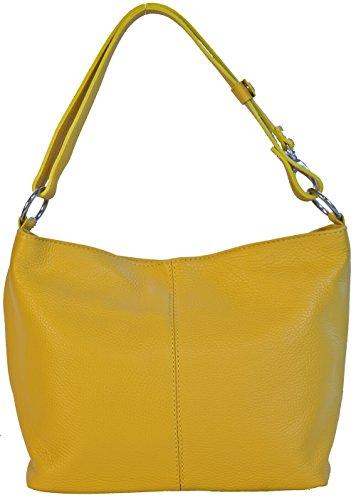 LucieElle Sac Femme CUIR Grainé Italien porté bandoulière porté épaule 'Rafaela' ANCIEN PRIX 80,00 EUR (JAUNE)