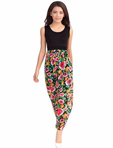Allegra K Women Floral Chiffon Summer Beach Maxi Tank Dresses