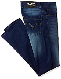 Genevo Men's Regular Fit Blue Jeans with Green Viscose